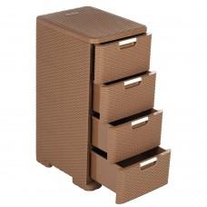 Комод 4-х секц. Плетенка/коричневый/495Х395Х860мм/Элластик-Пласт