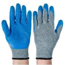 Перчатки садовые с резиновым полуобливом полиэстер 10размер 23см 70гр 26*16*6/ГЦ
