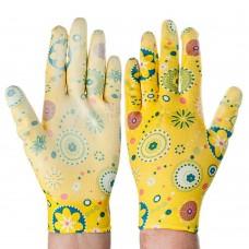 Перчатки садовые с нитриловым полуобливом, полиэстер, 9 размер, 23см, 31гр, цветные 25*15*5/ГЦ