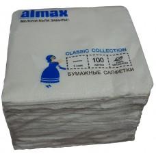 Салфетки Almax/24*24/МИН36/1 сл-й/белые/100л/Бриз/