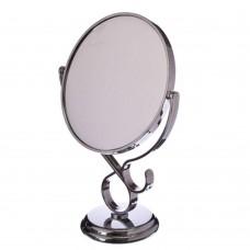 Зеркало настольное круглое, пластик, 17,5*29*10см, серебро, 1018/ГЦ