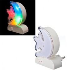 Ночник светильник в розетку с выключателем 4LED-многоцвет/Месяц со звездой /ГЦ