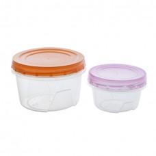 Комплект контейнеров пласт. круглых (2шт)/0,3л. + 0,7 л/Полимербыт/1/27