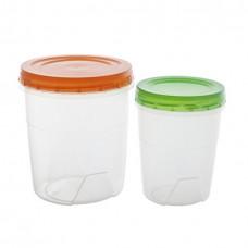 Комплект контейнеров пласт. круглых (2шт)/0,6 л. + 1,3 л/Полимербыт/1/30