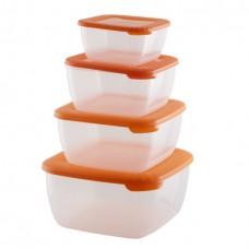 Комплект контейнеров пласт. д/СВЧ квадр. (4шт)ЛАЙТ/(0,46л+0,95л+1,5л+2,5л)/1/18/Полимербыт