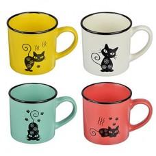 Кружка, 310мл, керамика, 4 цвета /Черная кошка /ГЦ