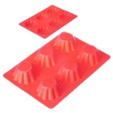 Форма для выпечки силиконовая 6 ячеек/кексы/гофрированная/25.5x18x3.5см/HS-027/VETTA /ГЦ