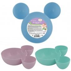 Детская тарелка Маус 3цв  NEW/диаметр основной тарелки 13,5 см/диаметр маленьких 7 см/Мультидом