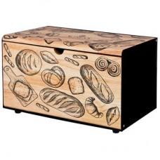 Хлебница металл. с деревянной крышкой 35.5*21.5*19.5см /Арти-М
