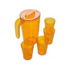 Питьевой набор: кувшин 1,8л. + 4 стакана 0,3л./коричневый прозрачный/Люмици/Мартика/1/8
