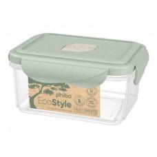 Контейнер для холодильника и СВЧ 0,9л. 14*10,8*14*7см./зеленый флэк/Eco style/Бытпласт/1/24