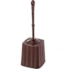 Комплект для туалета ерш для унитаза+подставка квадрат 12*35,5см./коричневый/Elegance/Эльфпласт/1/20
