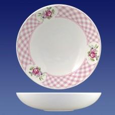 Тарелка суповая Соната 330 см3, гр. 8/Кантри розовая клетка/МИН12/Кубаньфарфор