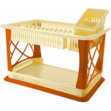Сушилка для посуды 2 яруса с поддоном/корица/Лилия/Plastic Centre/Пластик Репаблик/1/1
