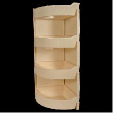 Этажерка угловая 4 секции 32,5*32,5*86,5см./слоновая кость/Nature/BranQ/Профит Хаус/1/1