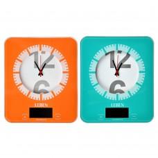 Весы кухонные электронные с часами/ макс.нагр.до 5кг (точн.измер. 1 гр)/ пластик/ 2 цвета/ГЦ