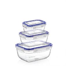 Комплект контейнеров пласт. прямоуг. (3шт)/0,4+0,8+1,4л/ВОЗДУХОНЕПРОНИЦАЕМЫЕ/Дунья/1/24