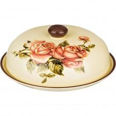 Блюдо для блинов с крышкой керамика h10см d23см  /Корейская роза/ /Арти-М