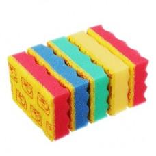 Губки для мытья посуды ВОЛНА/ с индикатором замены/95х65х25 мм/ 5 шт/уп/арт.910-039/GRIFON/ГЦ