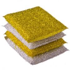 Губка д/посуды золото-серебро-поролон 4шт/8*12см/Премиум/VETTA /ГЦ