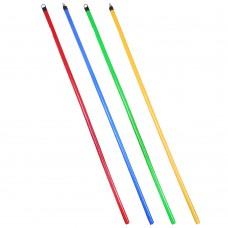 Черенок деревянный в ПВХ пленке/ разноцветный/ 120см/ d2,2см/ 4 цвета/ евро резьба/ГЦ