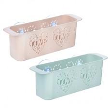 Полочка для ванной комнаты на присосках, пластик, 27,5*7,5*9,2см, 2 цвета/Романтика /VETTA /ГЦ
