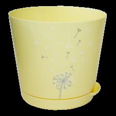 Горшок для цветов с прикорнев поливом 0,75л d-12см./Нежный одуванчик/Easy Grow/Пластик Репаблик/1/18