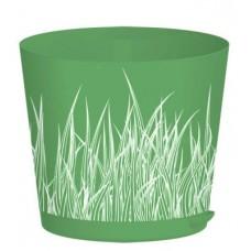 Горшок для цветов с прикорневым поливом 0,75л. d-12см./Зелёная трава/Easy Grow/Пластик Репаблик/1/18