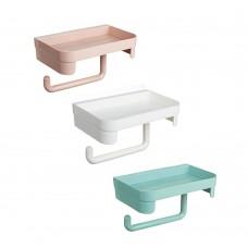 Держатель туалетной бумаги с полочкой самоклеящийся, пластик, 11х11,5х18см, 3 цвета/VETTA/ГЦ