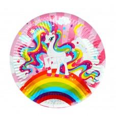 Набор бумажных тарелок Единорожки 6шт/d18см/ГЦ