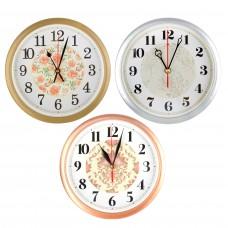 Часы настенные круглые, d=22см, пластик, 3 дизайна/ГЦ