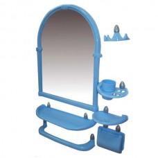 Зеркальный набор для ванны 7 предметов 44*59*8,5см./голубой/Олимпия/Росспласт/1/5