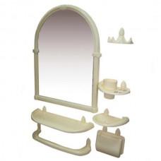 Зеркальный набор для ванны 7 предметов 44*59*8,5см./слоновая кость/Олимпия/Росспласт/1/5