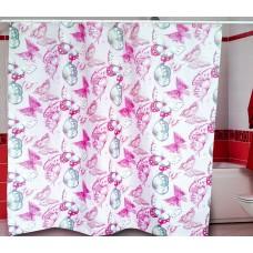Штора для ванной 180*200 см./розовый/Бабочки/Miranda/Турция/Евроторг/1/35