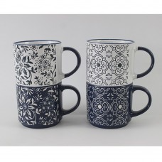 Кружка 390мл/керамика/4 дизайна/MILLIMI/Арабеска/ГЦ