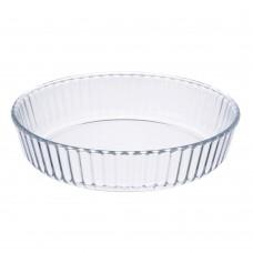 Форма для запекания жаропрочная/круглая/стекло/26,3х5,7см/рельефный бортик/SATOSHI/ГЦ