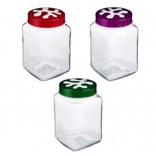 Банка для сыпучих продуктов/стекло/1л/HEREVIN/Пазл/3 цвета/137011-804/ГЦ