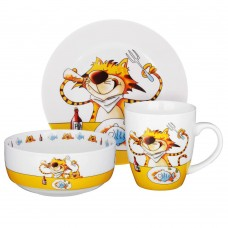 MILLIMI Полосатый кот Набор детской посуды 3 предмета, костяной фарфор