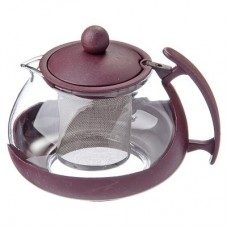 Чайник заварн. стекло-пластик  750мл/ситечко нерж. сталь/овальный/3 цвета /ГЦ