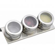 Набор для специй 4пр га магнитах, в тч метал.подставка 20*6*5см/Арти-М