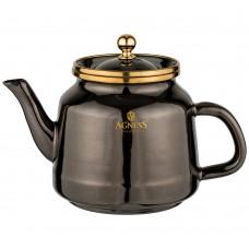 Чайник эмалированный 1,0л подходит д/инд плит /черный металлик/Agness/Арти-м