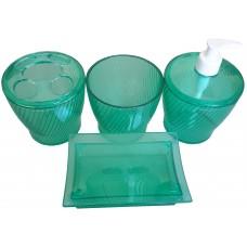 Набор для ванной комнаты Эльза 4 предмета/зеленый прозрачный/Евроторг
