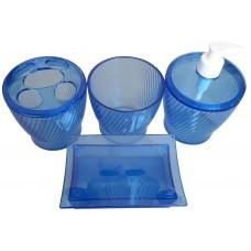 Набор для ванной комнаты Эльза 4 предмета/синий прозрачный/Евроторг