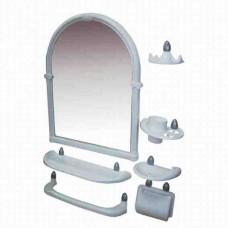 Зеркальный набор для ванны 7 предметов 44*59*8,5см./белый/Олимпия/Росспласт/1/5